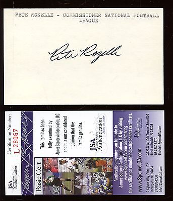 Pete Rozelle Autographed Index Card JSA Cert