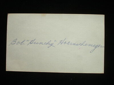 "Bob ""Hunchy"" Hoernschemeyer Autographed Index Card JSA Cert"