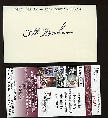 Otto Graham Autographed Index Card JSA