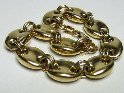 """Sterling Silver Gold Vermeil Puffy Mariner Link Bracelet Italy 7 &7/8"""""""