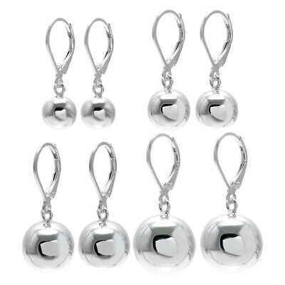 925 Sterling Silver Ball Drop Earrings with Lever Back (4 Sizes)