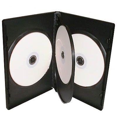 10 X CD DVD 14mm Black DVD 4 Way Case for 4 Disc - Pack of 10