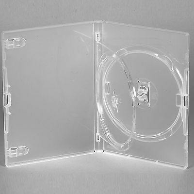 100 X Genuine Amaray Double DVD Clear Case Single Tray 14mm Spine - Pack of 100