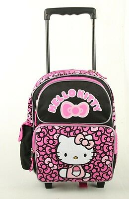 """New Hello Kitty  12"""" Rolling BackPack - Rolling School Bag Ribbons Black/Pink!!!"""