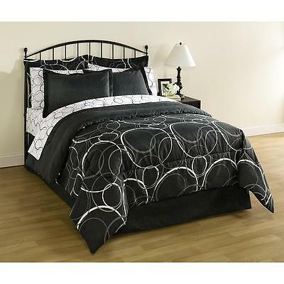 8 Pieces Bed in a Bag Bedding Set White Gray Black Circles King Queen Full Twin