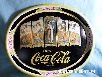"""Hard To Find  Collectable 1981 Coca Cola """"Four Seasons"""" Metal Tray"""