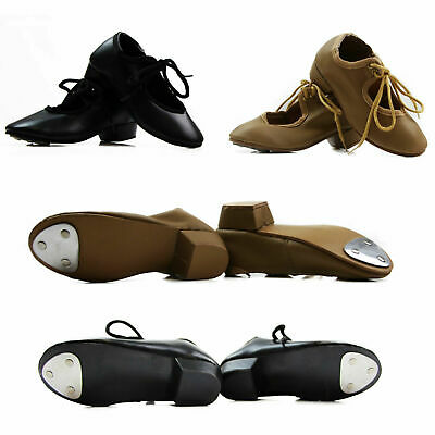 Girls Womens Quality Black Nude Tan Leather Tap Lace Up Women's Dance Kids Shoes
