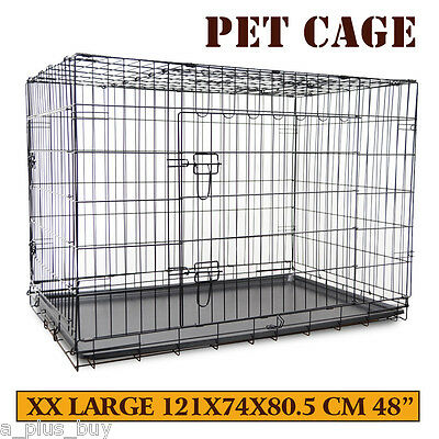 XXL Extra Large Portable Foldable Dog Puppy Cat Pet Metal Cage Crate Kennel 48""