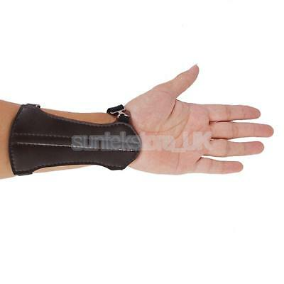 Brown PU Leather 2 Strap Archery Arm Safe Guard Protector Bracer Shooting