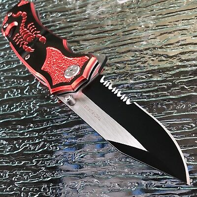 TAC Force Quality SPRING ASSISTED TACTICAL RED SCORPION Handle Black Blade Knife
