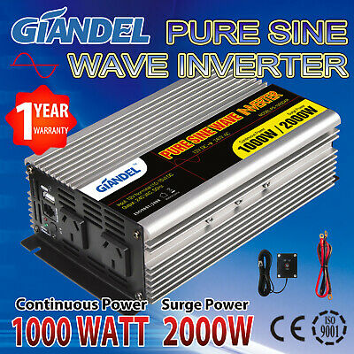 Pure Sine Wave Inverter 1000W/2000W12V-240V With Remote Controller Of 4.5M Cable