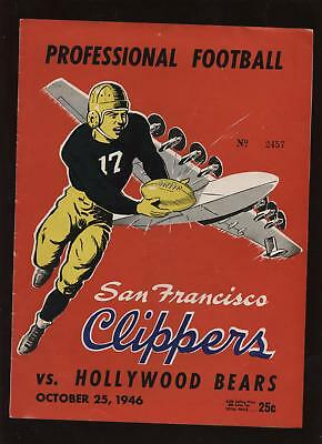 1946 FB Program SF Clippers vs. Hollywood Bears EX