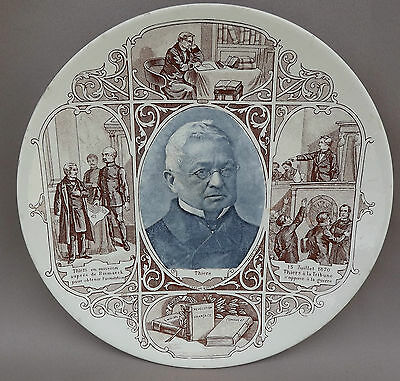French Antique Sarreguemines Majolica Plate President Adolphe Thiers 19th.c