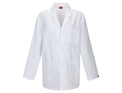 Scrubs Dickies Mens  Antimicrobial Lab Coat  White 81404A  WHWZ FREE SHIPPING