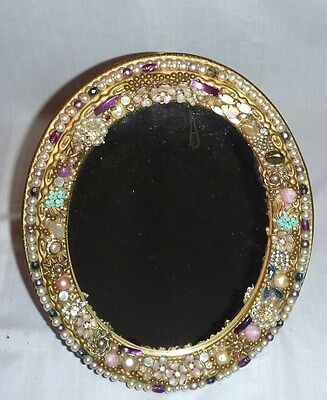 Vintage Mid Century Jewelry Framed Oval Standing Mirror hand Crafted