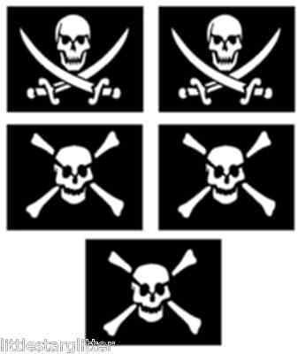 5 x pirate skull and cross bone glitter tattoo stencils great for pirate parties