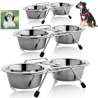 Stainless Steel Dog Cat Double Bowl Feeding Food Water Animals Outside Inside