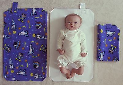 HAND MADE BABY TRAVEL CHANGING MAT - Cartoon Space Print