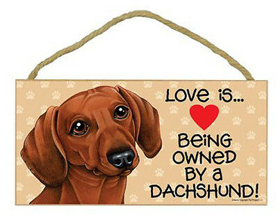 Love Being Owned by A Dachsund red Wood Sign Plaque dog