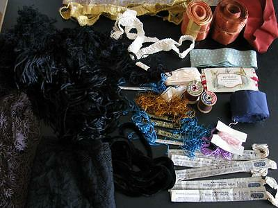 LOT FINE ANTIQUE SEWING TRIMS CHENILLE FRENCH GOLD METAL FRINGE LACE SILK THREAD