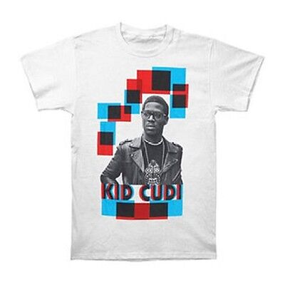 New: KID CUDI - 3D Red & Blue Mens (Size 3XL) White Colored Rap Concert T-Shirt