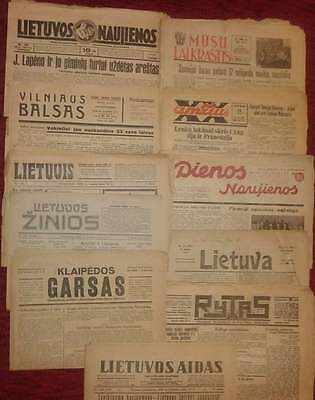 11 old newspapers - Lithuania period 1927-1940 all different. Rare! see descrip.