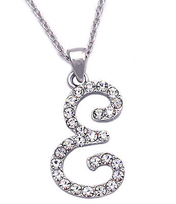 Clear Crystal Cursive Writing Initial Letter F Pendant Necklace Women Jewelry