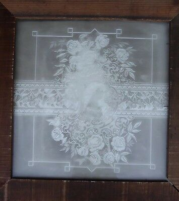 Victorian - Antique - Vintage Etched Glass Window - Circa 1890