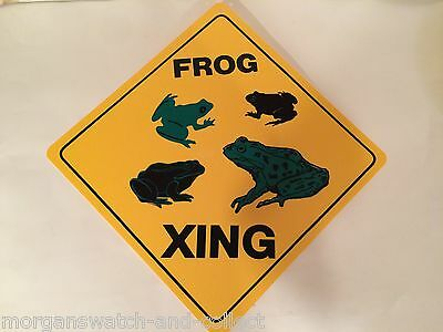 "Frog Xing Sign *NEW* Durable Plastic Crossing Sign 12"" x 12"" Frogs Family"