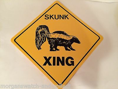 "SKUNK Xing Sign *NEW* Crossing Sign Caution! Durable Plastic 12""x12"" Made in USA"