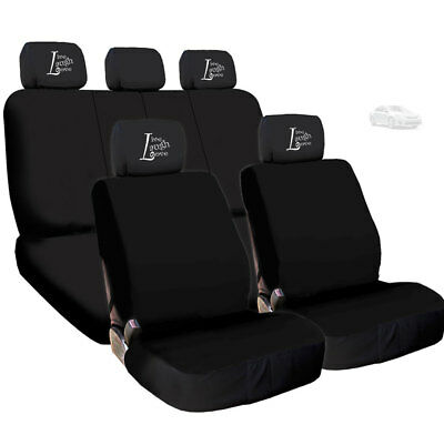 For Nissan New 4X Live Laugh Love Headrest and Black Fabric Car Seat Covers