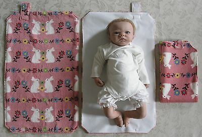 HAND MADE BABY TRAVEL CHANGING MAT - Vintage Style White Rabbits & Flowers