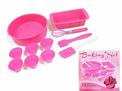 New Pink 11 Pc Silicone Baking Bake Ware Muffin Cake Case Mould Whisk Brush Set