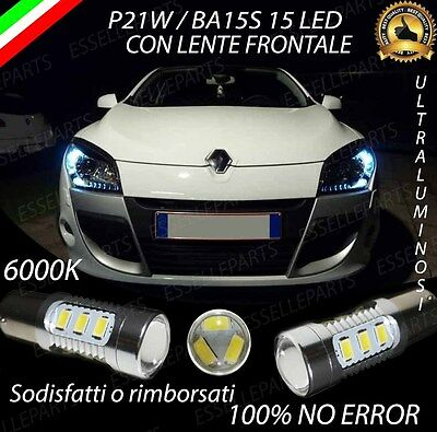 Coppia Luci Diurne Drl 15 Led P21W Ba15S Canbus Renault Megane 3 6000K No Error