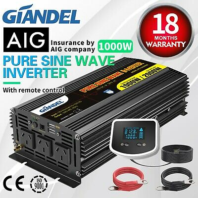 Pure Sine Wave Power Inverter1000W(2000W Max)12V-240V+Solar Charging Manager 20A