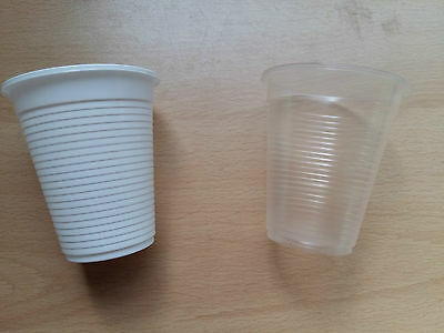 White Clear Plastic Disposable Juice Water Cups Tumbler 180ml 6.3oz Value Cheap!