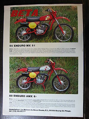 Brochure Catalogue  Moto 1978-80  Beta Mx 51 Et Amx 6