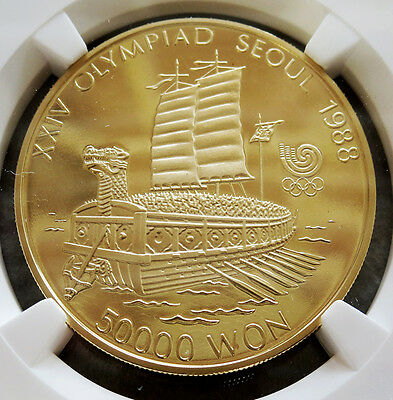 1986 Gold South Korea 50000 Won Turtle Boat Olympiad Ngc Proof 69 Ultra Cameo