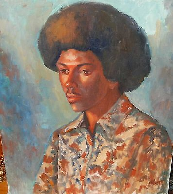 African American Man With Afro From 70's Original Oil On Board Painting Unsigned