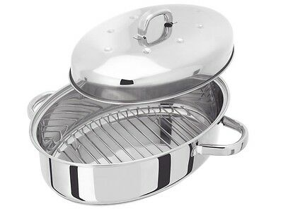 Judge Stainless Steel Domed Roasting Tin Lid Oval Roaster Pan Tray Induction
