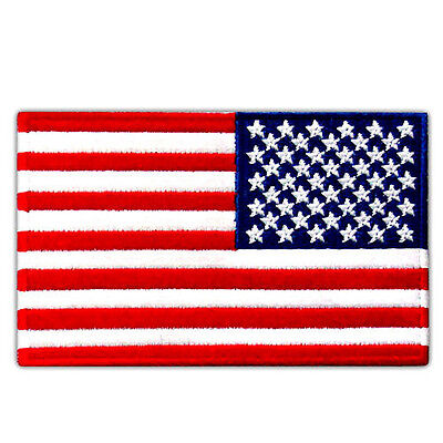 """USA FLAG US REVERSED EMBROIDERED PATCH RIGHT ARM IRON-ON EMBLEM SIZE 4""""x2.5"""""""