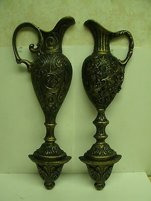 """1973 Homco 25"""" Tall Ornate Style Pitcher Wall Decor Set black & gold"""