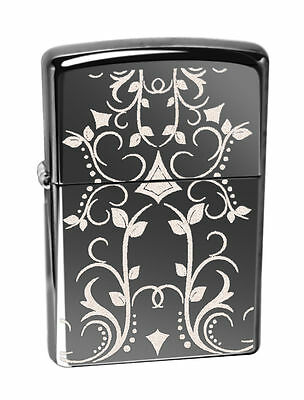 Zippo Windproof Black Ice lighter With Filigree Pattern, # 28833, New In Box