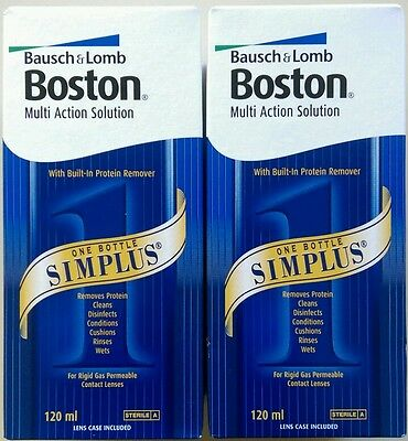 2 x Pack Bausch & Lomb BOSTON SIMPLUS 120ml contact lens solution November/ 2019