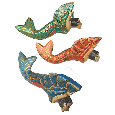 Winged Mermaid Goddess Ornament Set Hand Carved Painted Wood Balinese Folk Art