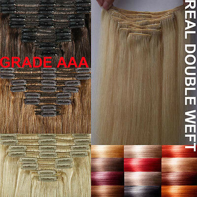 Real THICK 220G Clip In Remy Human Hair Extensions Full Head Double Weft US A089