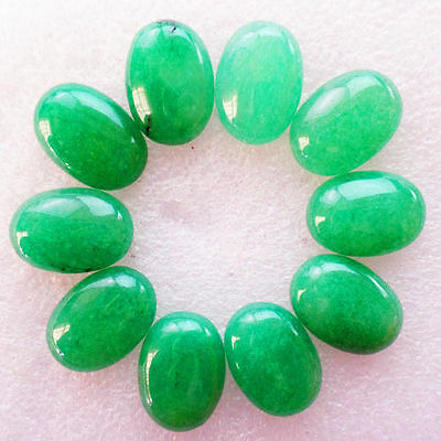 10Pcs Wholesale Green Jade Oval 25x18x7mm CAB CABOCHON M766