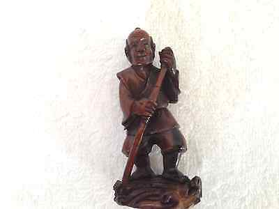 Antique Chinese Carved Horn Okimono Of A Fisherman