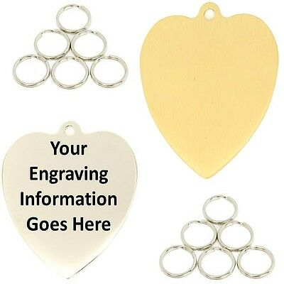 Engraved Pet ID Tags Heart Shape 30x34mm Dog Disc Disk Puppy Engraved & Post Inc