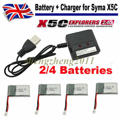2/4 PCS 3.7V 650mAh Battery + USB Charger for Syma X5C X5A X5SW Drone Quadcopter